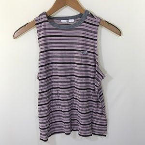 Vans Pink and Black Striped Tank Top Size M